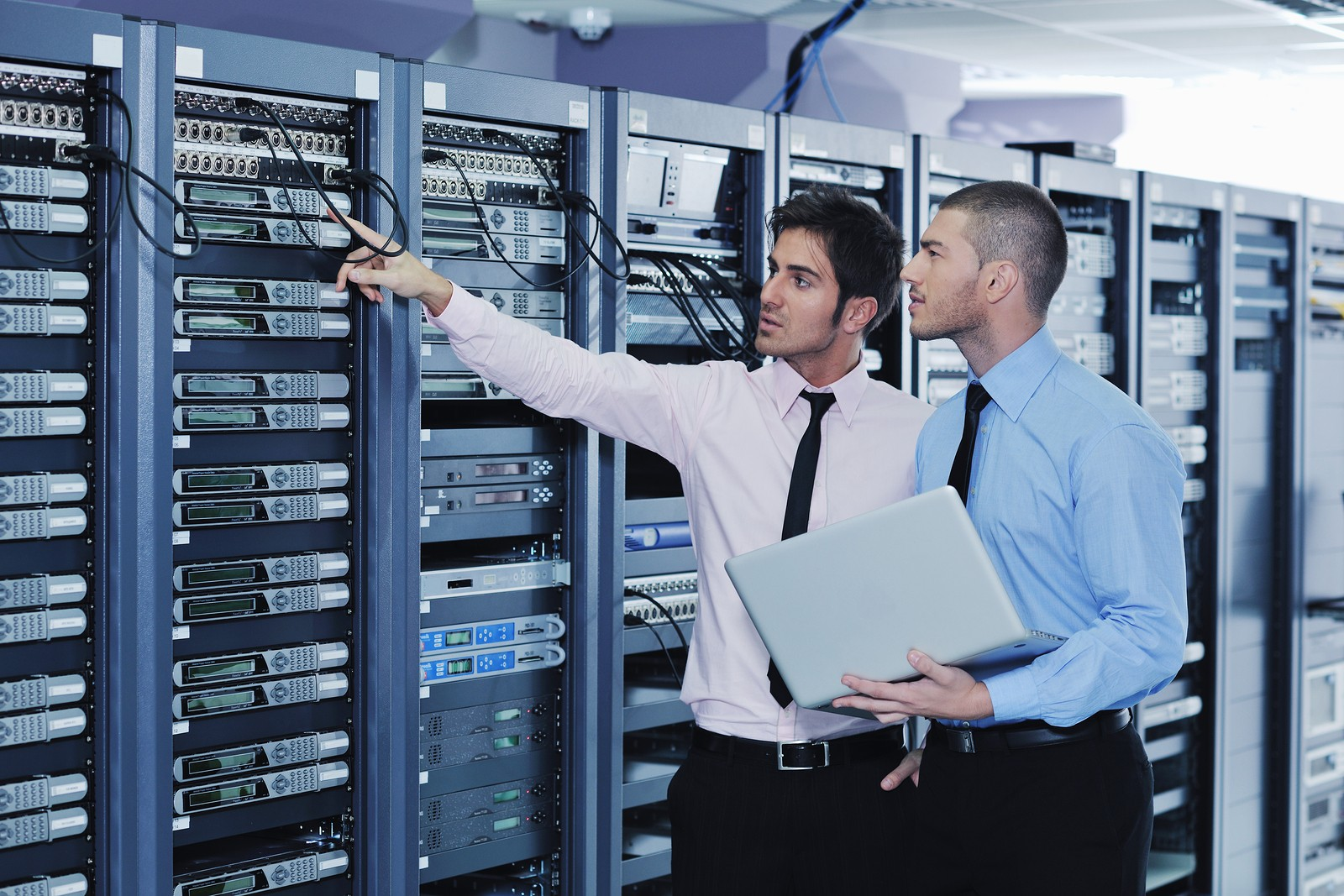 group of young business people it engineer in network server roo