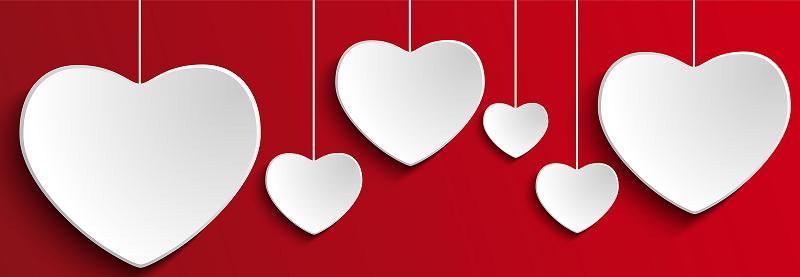 Valentine Day Heart On Red Background